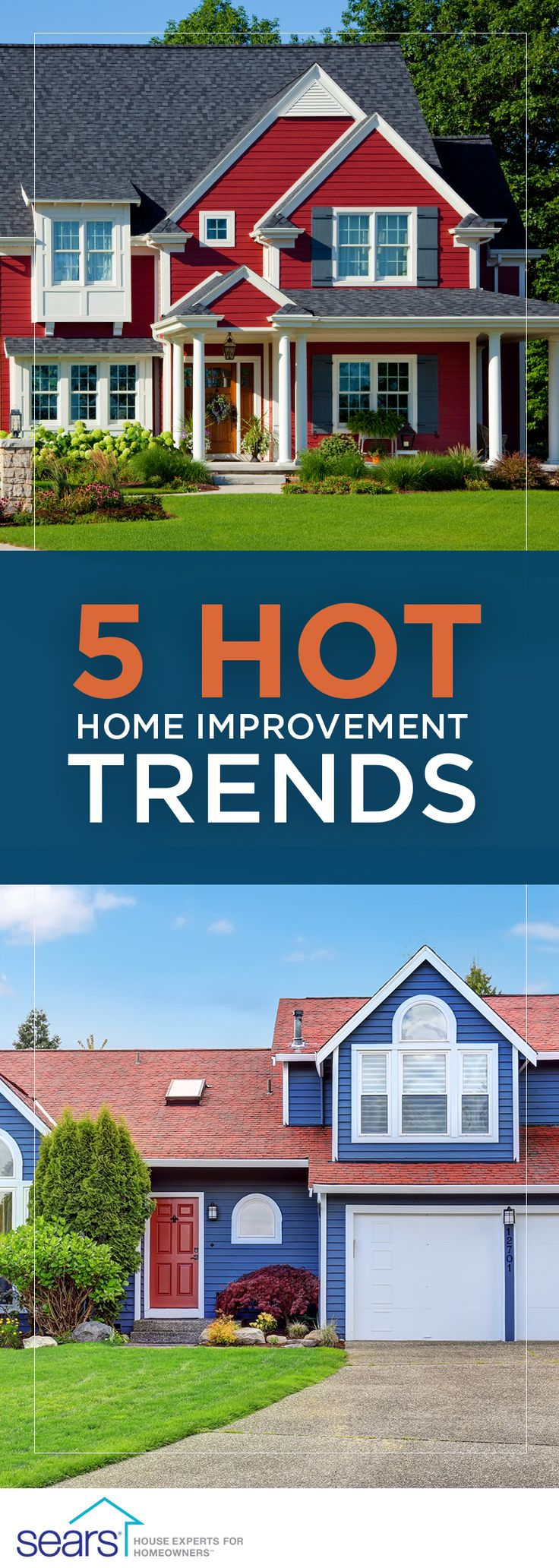 5 Hot Home Improvement Trends — This year is all about color, from dramatic colored siding to bronze window frames. Sears' exterior product guru talks the latest design trends for siding, roofs, windows and doors and how you can get the look.