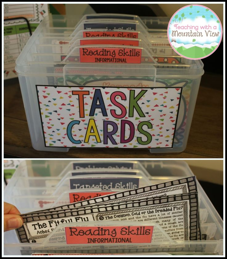 The BEST task card organization solution I have found for half-page task cards.  A must for any task card loving teachers!