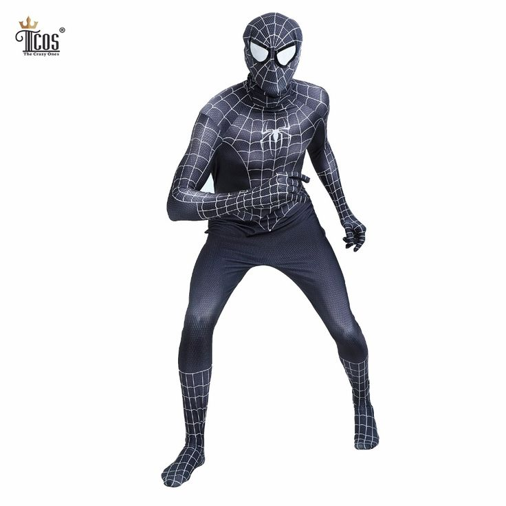 ==> [Free Shipping] Buy Best (2 pieces/lot) Black Spiderman Costume Suit Venom Man Spider Man Cosplay Costumes Spandex Lycra Halloween Birthday Bodysuit Online with LOWEST Price | 32811875807