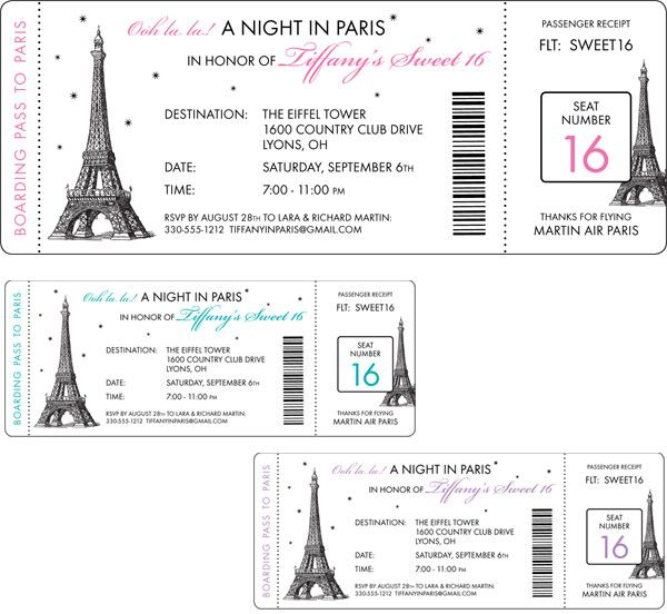 Paris Party Boarding Pass Invitation / Here's your boarding pass to a night in Paris!
