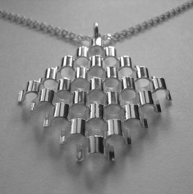 Elis Kauppi for Kupittaan Kulta (FI), sterling silver vintage modernist pendant, 1963. #finland | finlandjewelry.com