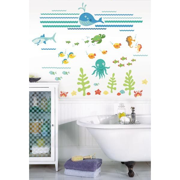 Such A Cute Kids Bathroom Decor Idea With Ocean Inspired Wall Art   Under  The Sea