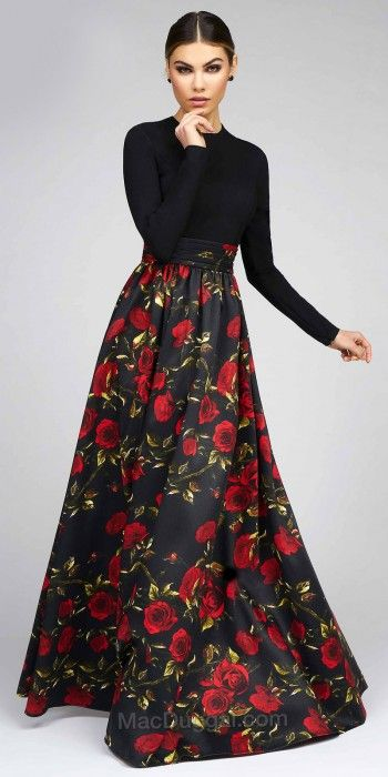 Floral Long Sleeve Fit and Flare Ball Gown by Mac Duggal #edressme