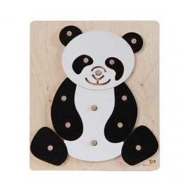 Educational puzzle, which develops children's activity and visual-motor coordination. A child puts the pegs fixed on the basis of the individual pieces forming a panda silhouette. Made by Neo-Spiro.