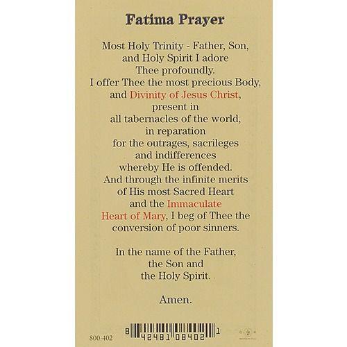 Prayer to Our Lady Of Fatima - Prayer Card