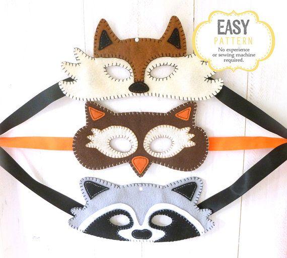 Fox Mask Pattern Raccoon Mask Pattern Owl von LittleSoftieShoppe
