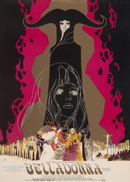 """""""The Tragedy of Belladonna"""", is a 1973 animated film. It follows the story of Jeanne, who is raped at her wedding night and rejected by her husband. She turns into witchcraft to get even with the society. The narrative of Michelet's Sorceress and her resistance against feudalism and the Church is fudged into that of Joan of Arc. (and also Boudicca) Its visuals are strongly influenced by western art, such as Aubrey Beardsley, Gustav Klimt and classic tarot illustrations."""