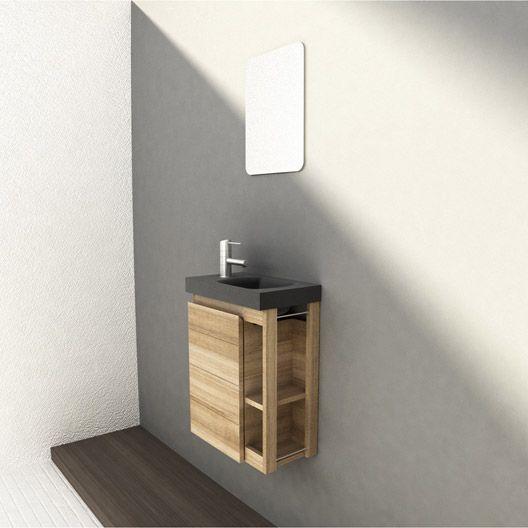 Meuble lave-mains avec miroir Faireway, naturel