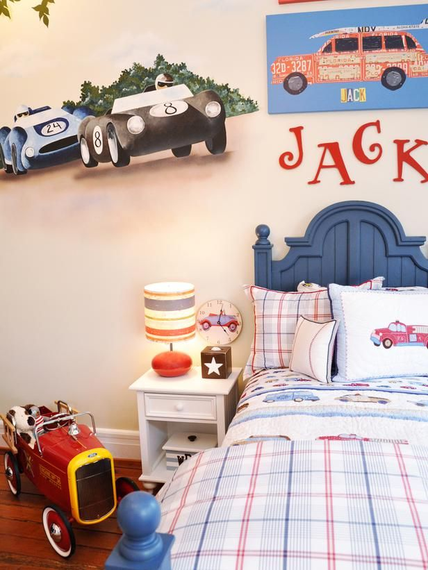 Decorating Ideas for Fun Playrooms and Kids' Bedrooms : The great thing about a transportation theme is that you can completely customize it depending on the time period, color and type of vehicle.  For example, you can do Italian racecars from the 1960s, vintage fire trucks from the 1920s or, when the boys get a little older, hot muscle cars. Design by Susie Fougerousse From DIYnetwork.com