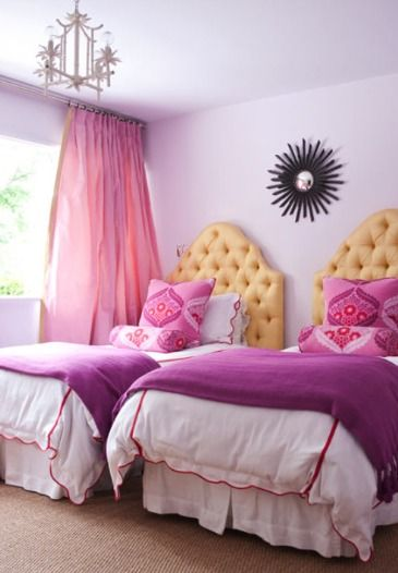 Radiant Orchid is the 2014 Color of the Year. It looks beautiful in this double bedroom from Simone Design! #laylagrayce #radiantorchid #pantone2014