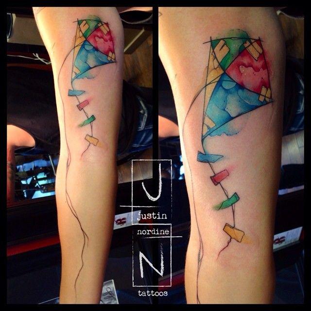 Kite tattoo Justin Nordine Tattoos Www.justinnordinetattoos.com Facebook.com/justinnordinetattoos Instagram: @justinnordinetattoos