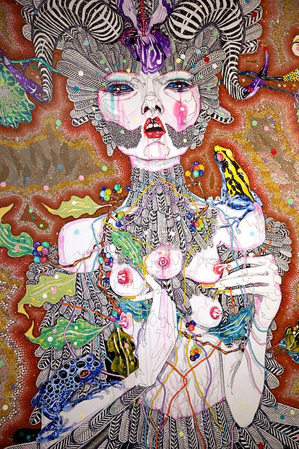 Del Kathryn Barton it's not a little love song, 2011 acrylic, gouache, watercolour and ink on polyester canvas 182 × 163cm