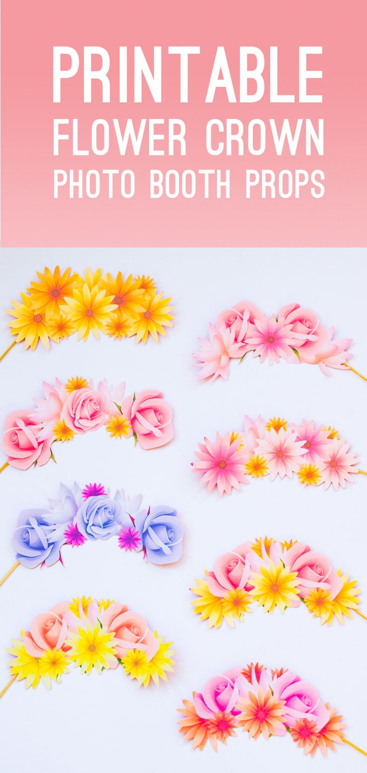 Photo Booth Props | Printable Flower Crowns | Hen Party | Bachelorette Party | Bridal Shower |