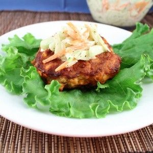 Buffalo Chicken Burgers with Cucumber Slaw (Low Carb and Gluten Free) - Living Low Carb One Day At A Time