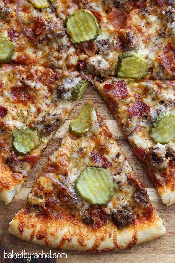 Thin crust bacon cheeseburger pizza recipe from @bakedbyrachel