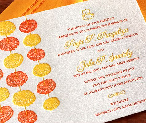Marigold flowers on your card! Really doesn't get more typical Indian celebration than marigolds. :)