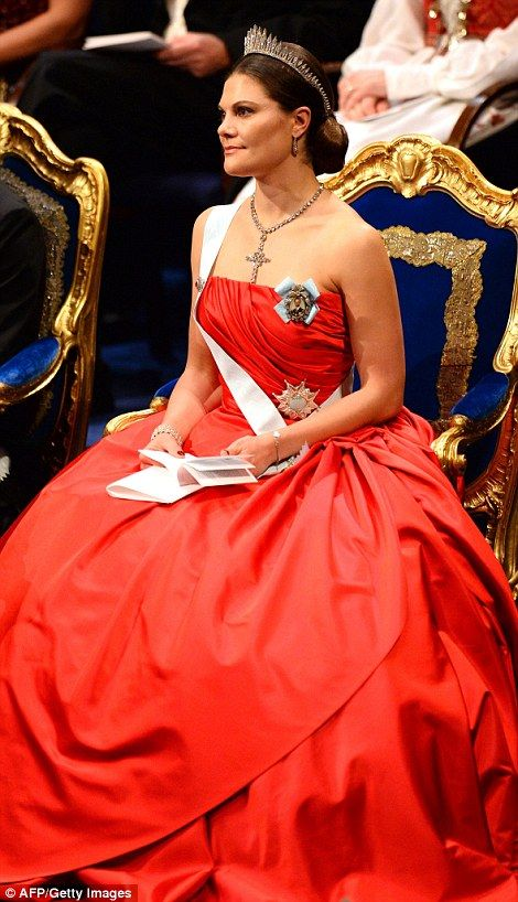Crown Princess Victoria of Sweden pictured at the Nobel Prize award ceremony