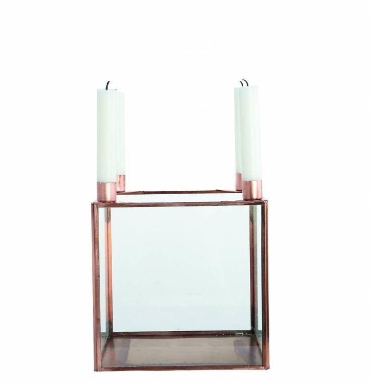 Housedoctor Kerzenständer SQUARE aus Metall, kupfer, 20x20xh22cm, 35,95