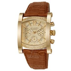 bulgari menu0027s assioma watch in 18k yellow gold with cognac alligator strap