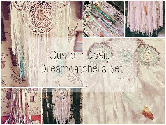 - Made to order! -     Bohemian vintage inspired  set of three dreamcatchers for ur gypsy bedroom     Available variations:    LMM - one big  ~ 10'' + two medium ones ~ 8''    MSS -  one medium ~ 8'' + two small ones  ~ 3,6''     MMS - One small ~ 3.6 + two medium ones ~ 8''    Available color themes and styles:    - Boho pastel - in creamy, baby blue, pale pink, light purlpe etc colors  - Dark boho - in coffee brown, dark teal, deep purple, wine red etc colors  - All white - where i will…