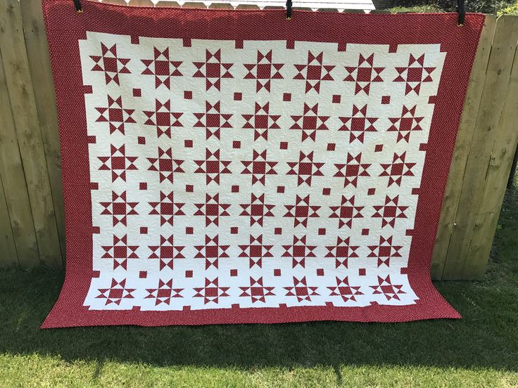 This Red And Cream Ohio Star Quilt Was Made With Missouri Stars Pattern Fabric I Purchased During A Visit To Their Shops