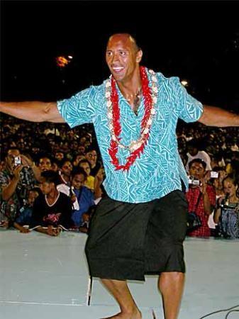 Dwayne Johnson in traditional Samoan siva