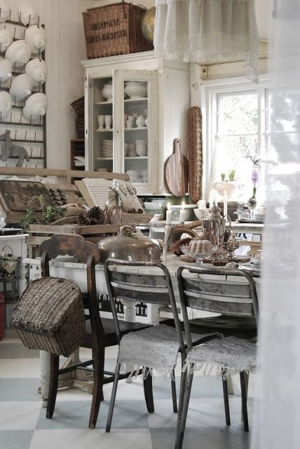 Looooove This Combination Of Whites, Greys, Wicker, Metal Chairs, Woods    Salvage Shabby Chic!