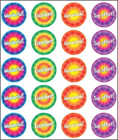 Stickers Tie Dyed. Teacher sticker pack. Contains 100 sticker. Merit award.