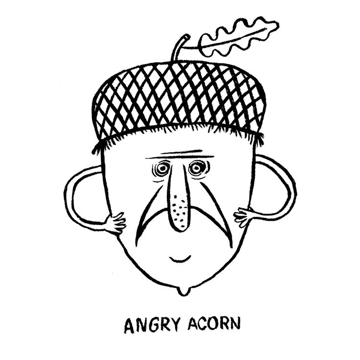 The first drawing of of Karo Rigaud's 2016 illustrated Advent Calendar… the Angry Acorn.