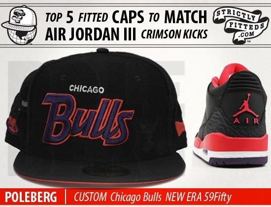 Custom NEW ERA  x NBA Chicago Bulls Fitted cap to match Air Jordan III Crimson kicks
