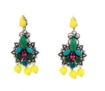Handmade antique metal plated earrings with Swarovski strasses and beads, by Art Wear Dimitriadis
