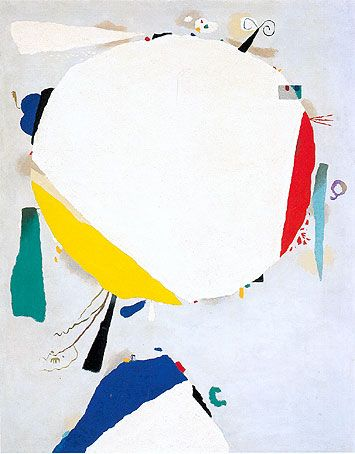abstract painting with a big white circle and several colored forms, resulting in a figure