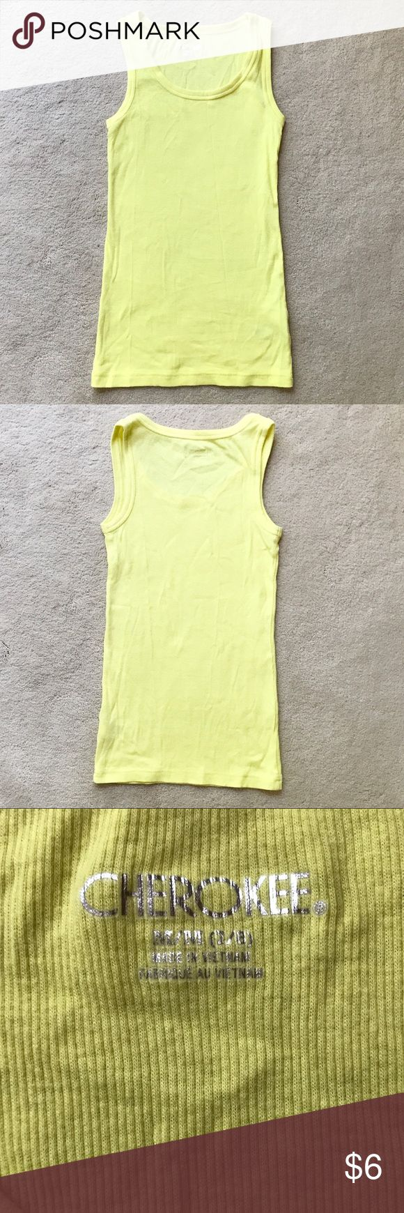 Cherokee Yellow Tank Top What better way to greet the warm weather than with a pop of color? This yellow ribbed tank top will go with everything. It is made of 95% cotton and 5% spandex. It is a medium (7-8). Bundle and save 30%. Cherokee Shirts & Tops Tank Tops