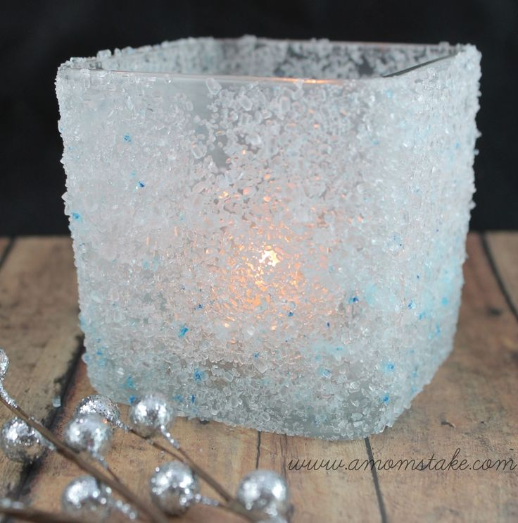 DIY Frosted Candle Holder