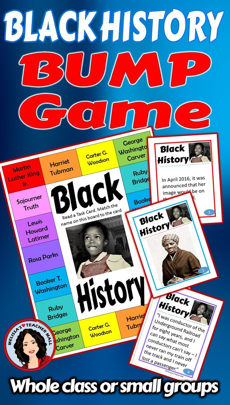 Learn about Black History with a game. Play a Bump Game and let the learning begin. This Black History Game features 9 Black Americans. There is no need to pre-teach about the people included in this game. The purpose is to learn as you go.