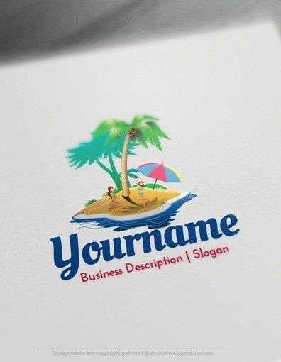 Design Free Logo: Island Style Logo Template Ready madeOnline Island Style Logo Template decorated with an imageof an Island with people and tropical trees, umbrella and water. This professional travel logos excellent for holiday travel, Travel agency, Eco park, recycling, Plant nursery, Agricultureetc.  Creating Island Style logos with our Free Logo Maker is fast and easy. Browseour ready
