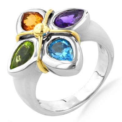 18K Yellow Gold and Sterling Silver Multi Gemstone Flower Ri