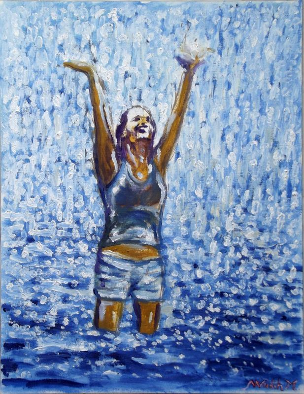 """RAINY LAKE GIRL - Moment of Happiness - Thick oil painting - 30x39cm"" by Wadih Maalouf. Oil painting on Paper, Subject: People and portraits, Expressive and gestural style, One of a kind artwork, Signed on the front, This artwork is sold unframed, Size: 30 x 39 x 0.1 cm (unframed), 11.81 x 15.35 x 0.04 in (unframed), Materials: Oil on paper"