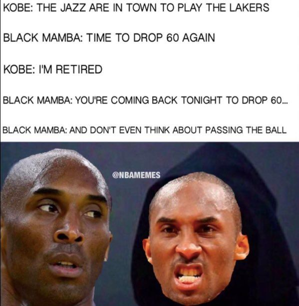RT @NBAMemes: Lakers hätten The Black Mamba heute Abend gerne in Uniform! – nb …   – Funny pictures
