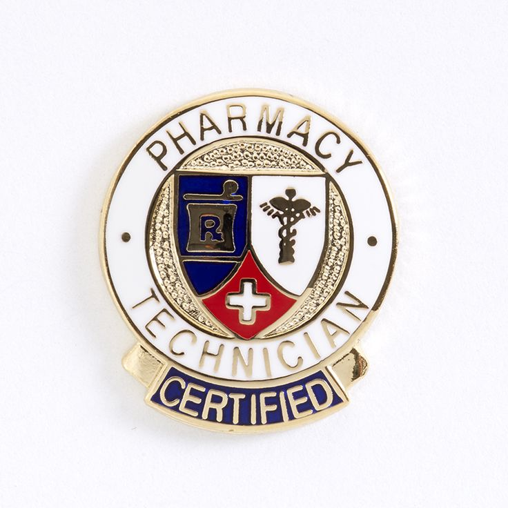 """Certified Pharmacy Tech Banner Lapel Pin Pharmacy Technician Certified w/banner Pin features detailed colorful enamel overlays with gold accents and pin through back. 7/8"""" dia."""