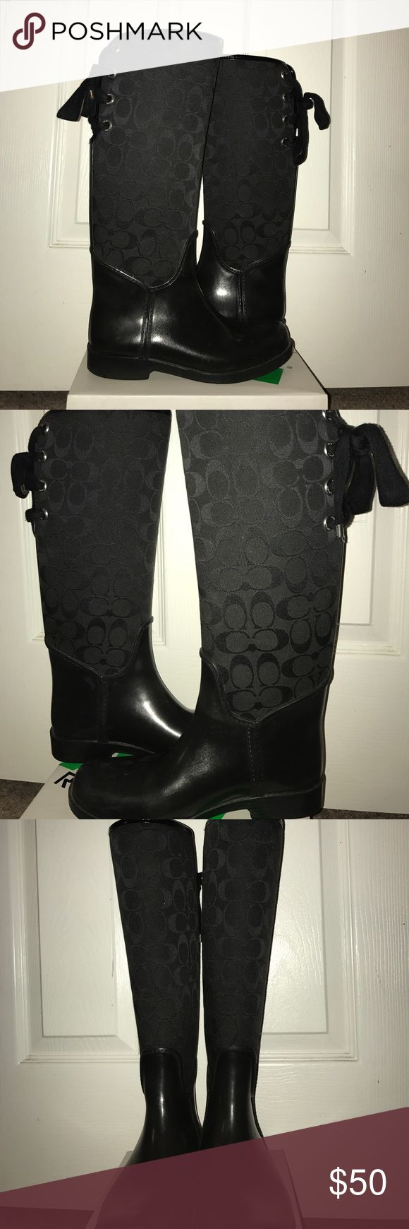 Coach Rain Boots Size 7 Black Coach Rain Boots, Size 7, they have some scuff marks as shown in pics, still in good condition!! Offers are always considered! Let me know if you have any questions!:)) Coach Shoes Winter & Rain Boots
