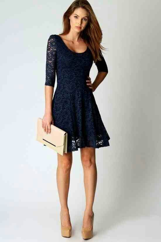 Navy Lace Dress.  Teen Fashion. By-Iheartfashion14   →follow←