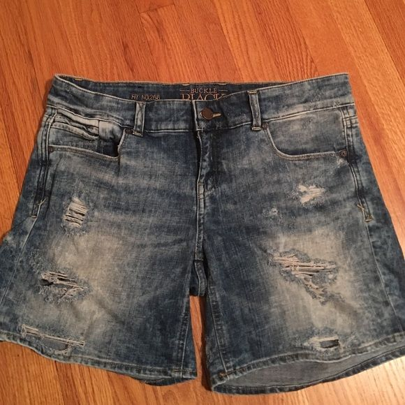 Buckle Black Denim shorts Buckle black denim shorts size 28. Runs a little bigger. Can wear them cuffed like in the last picture. Only worn a few times just don't fit now.  Great condition!! Buckle Shorts Jean Shorts