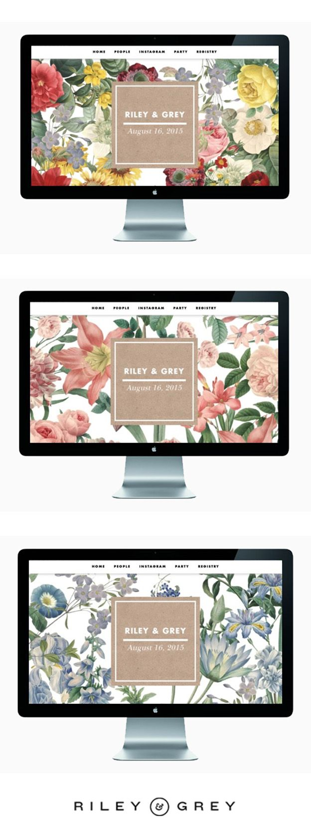 """BLOOM"" floral wedding website template designed by Riley & Grey. See more designs here: https://www.rileygrey.com/designs#/"