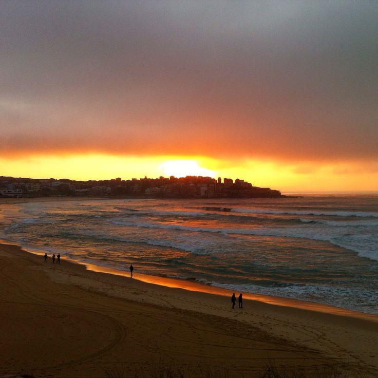 Sunrise over bondi beach.
