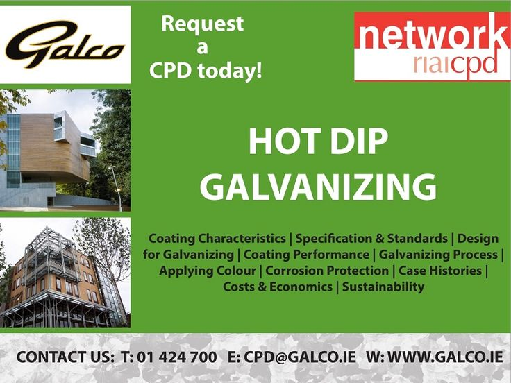 Galco provides a full technical service for Engineers & Architects in Ireland including literature, telephone enquiries, plant visits and in-house CPD presentations.  The course describes what Hot Dip Galvanizing is and corrosion protection it provides. It also includes the process of application, the relevant standards, quality assurance, on-site inspection, life expectancy and sustainability.
