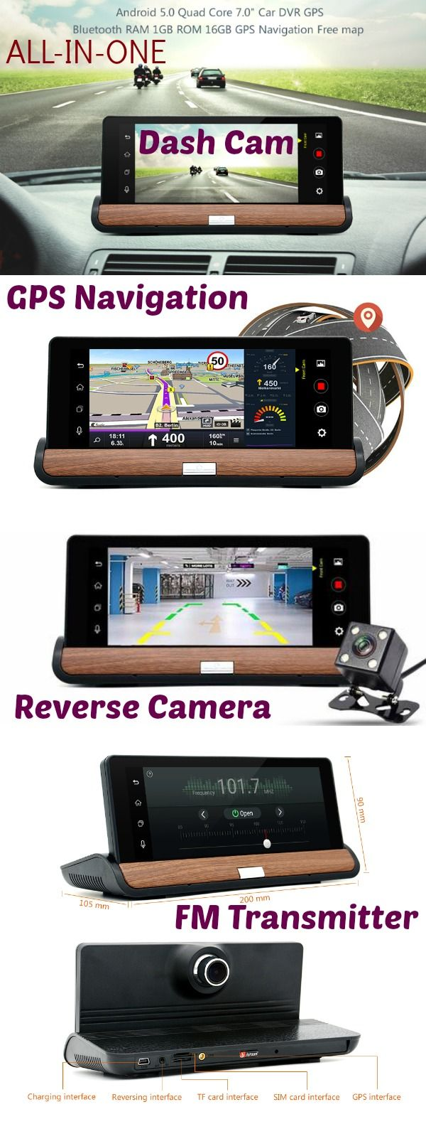 All in one device that includes dual cameras dash cam and reverse cam