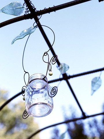 mason jar wire hangers: Gardens Ideas, Arbors Trellis, Weekend Projects, Outdoor Pergola, Outdoor Lanterns, Glasses Jars, Jars Lanterns, Hanging Jars, Mason Jars Candles