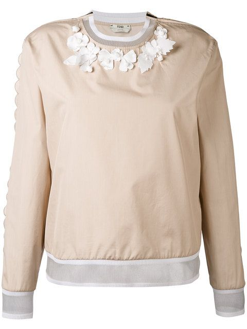 FENDI Floral Applique Blouse. #fendi #cloth #blouse