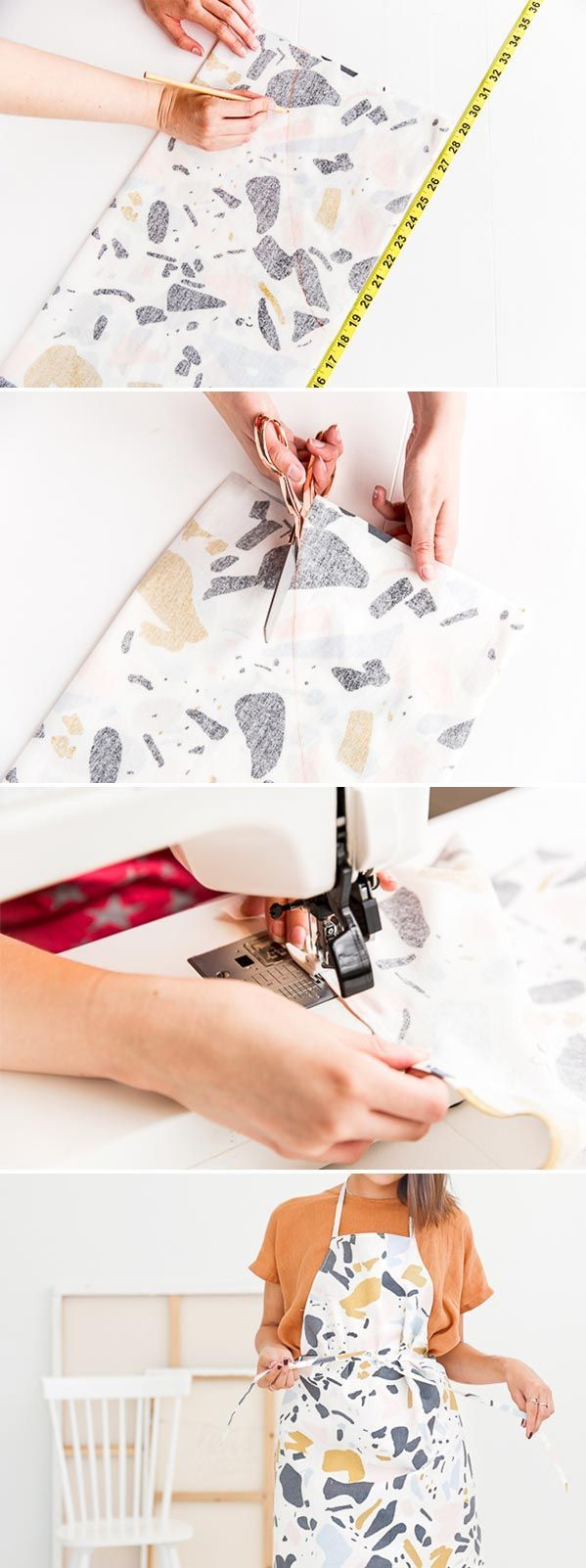 How to sew an apron in 10 minutes. Click through for the tutorial.